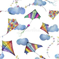 Watercolor seamless pattern with kites and clouds. Hand drawn vintage kite with retro design. Illustrations isolated on white back. Illustration about garland, drawing - 75312775 Watercolor Pattern, Watercolor Cards, Watercolor Background, Watercolor Illustration, Kite Tattoo, Kite Designs, Balloon Pictures, Dandelion Designs, Sketch Journal