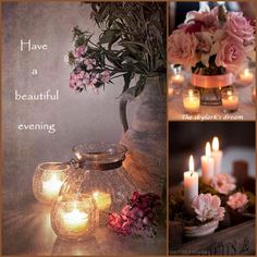 """Pink candles, """"Have a wonderful evening"""" mood/color collage pixels Good Night Messages, Good Night Wishes, Good Night Sweet Dreams, Good Night Quotes, Good Morning Good Night, Bougie Partylite, Collages, Evening Greetings, Color Collage"""