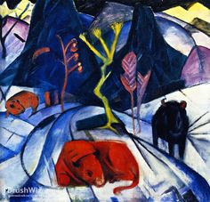 Bison In Winter by Franz Marc - Oil Painting Reproduction - BrushWiz.com