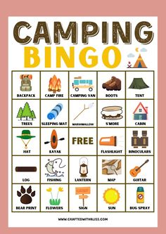 camping-themed games for preschoolers camping games and activities for preschoolers best camping games for toddlers camping games to play at night camping games to play online camping games to play with friends camping games to play in the rain camping games to play outside fun camping games to play at night cool camping games to play camping games free to play games to play camping adults Camping Bingo, Camping Activities For Kids, Camping With Toddlers, Activities For Adults, Printable Activities For Kids, Rain Camping, Kids Camp, Backyard Camping, Road Trip With Kids