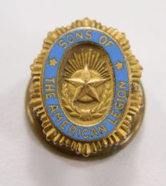 Sons of the American Legion Vintage Oval Lapel Pin Blue Enamel Gold Tone Metal 14333 by QueeniesCollectibles on Etsy