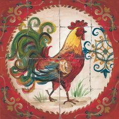 Rooster Printed Tile VII