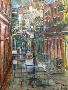 Alley All-Light: New Orleans artist, Adrian Fulton painted this piece of Exchange Alley in It features a Vieux Carre series on a Lamppost. Digital Art Gallery, Fulton, New Orleans, Artist, Painting, Painting Art, Paintings, Painted Canvas, Drawings