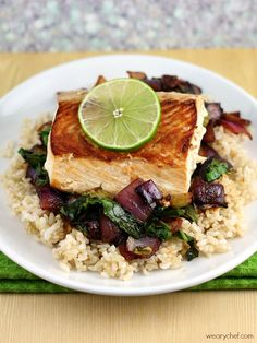 Asian Salmon with Vegetables over Rice is the perfect balanced meal for clean eating.