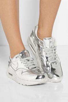 Nike | Air Max metallic leather sneakers | - to match my Chrome Essie Nail Polish!