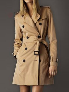 Charming Turn-Down Collar Full Sleeve Double Breasted Tie Waist Wool Trench Coat For Women - BuyTrends.com