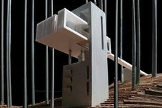 Model of the award-winning Jones House. Chinese Architecture, Concept Architecture, Architecture Details, Modern Architecture, Steel Structure Buildings, Modern Buildings, Garden Nook, Study Room Design, Arch Model