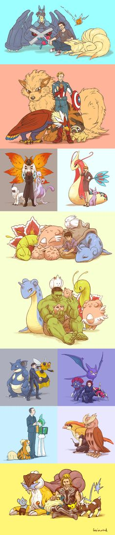 Avengers' Pokémon Assemble! I love everything about this :D I'm showing this to my boyfriend ASAP :)