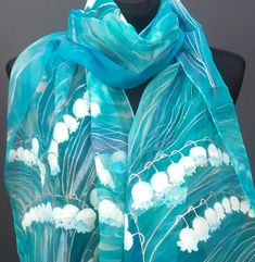 This Lily of the Valley silk scarf is one of the most popular items in my Etsy shop https://www.etsy.com/listing/118708239/lily-of-the-valley-hand-painted-silk