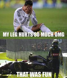 football players feel only when they fall down but Formula 1 drivers when they crash they feel up to Funny Car Quotes, Crazy Funny Memes, Really Funny Memes, Funny Relatable Memes, Funny Jokes, Hilarious, Car Jokes, Car Humor, Funny Images
