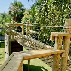 Rope Bridges plus Treehouses, Tree-top Walkways, Nest Swings, Climbing Walls, Zip Wires plus more — Rope Bridge projects - UK and Worldwide - Design and Install Tree House Playground, Playground Design, Backyard Playground, Backyard Fort, Backyard For Kids, Nest Swing, Tree House Plans, Tree House Designs, Tree Tops