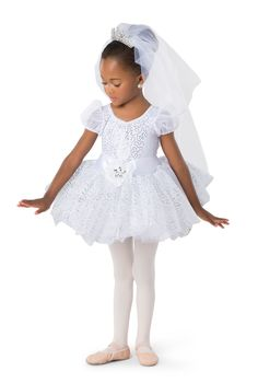 Silver sequin silky stretch over white spandex leotard with attached silver glitter scalloped top skirt and puff sleeves. Attached white tricot tutu with satin back bow detail. Silver Sequin, Silver Glitter, White Spandex, Baby Ballerina, Scallop Top, Dance Recital, Tiny Dancer, Puff Sleeves, Dance Costumes