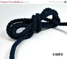 SALE 20% Twisted cotton cord, 6 mm, midnight blue, 3 meters