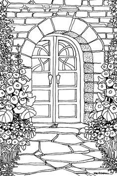 Doorway, Doodle Card by Kim Attwooll
