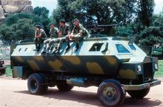 Crocodile APC, the floor is covered with sandbags and rubber matting, the tyres are filled with water. Military Photos, Military Weapons, Military History, Military Uniforms, Army Police, Army Vehicles, War Photography, All Nature, War Machine