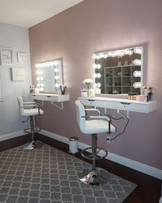 DIY Makeup Vanity Design Ideas 23 (DIY Makeup Vanity Design Ideas design ideas and photos Makeup Studio Decor, Beauty Salon Decor, Makeup Room Decor, Makeup Rooms, Diy Beauty Room, Diy Makeup Vanity, Makeup Storage, Makeup Organization, Makeup Salon