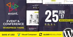 Evont - Event & Conference WordPress Theme . Evont has features such as High Resolution: Yes, Widget Ready: Yes, Compatible Browsers: IE11, Firefox, Safari, Opera, Chrome, Edge, Compatible With: Visual Composer 4.11.x, Bootstrap 3.x, Framework: Underscores, Software Version: WordPress 4.6.1, Columns: 4+