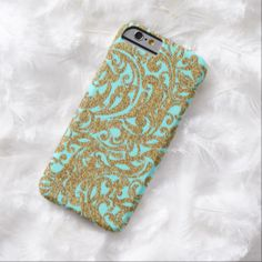 Chic Faux Gold Glitter Vintage Floral Pattern iPhone 6 Case