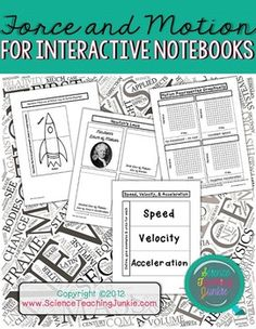 This PDF includes 48 pages of various foldables, flippables, and activities specifically designed for an Interactive Science Notebook to be used during a unit on Force and Motion.  (23 of these pages are teacher answer keys, examples, and directions for use)Most foldables and flippables are left blank on the inside.