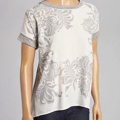 Peridot Tops - Heather Gray & White Art Nouveau Top