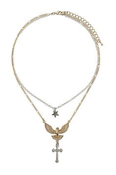 Eagle Cross Ditsy Necklace