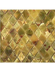 Dark Green Onyx Diamond Polished Mosaic Tile #dark_green_onyx #onyx_mosaic_tile
