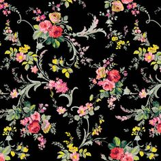 Grace Scroll Floral Black - Grace by Anna Griffin - Quilt Fabrics