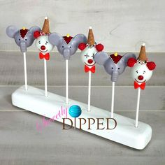 Circus Elephant and Clown Cake Pops