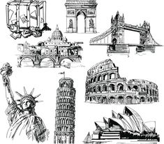 "Set of 8 vector hand drawn landmark sketches of different architectural monuments for your travel and turism related designs, brochures and illustrations. Format: Ai, Tif stock vector clip art and illustrations. Free for download. Set name: ""Hand drawn landmarks"" for…"