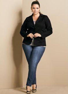 Blazer Feminino Plus Size Preta - Quintess