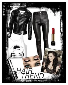 """""""Back in Black"""" by cassie-goats ❤ liked on Polyvore featuring H&M, Lancôme, hairtrend and rainbowhair"""