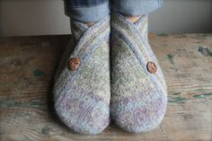 Made from once loved wool cardigan sweater that we felted and refashioned into these beautiful and comfortable slipper socks for Women size 8-8.5.