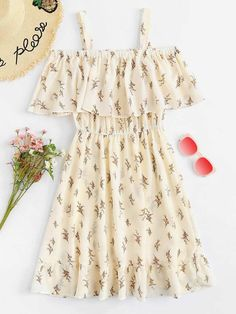Shop Cold Shoulder Floral Print Tiered Dress at ROMWE, discover more fashion styles online. Girls Fashion Clothes, Teen Fashion Outfits, Mode Outfits, Girl Outfits, Fashion Dresses, Dress Outfits, Fashion Fashion, Cute Casual Outfits, Pretty Outfits