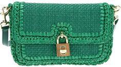 Dolce & Gabbana Green Woven Raffia Shoulder Bag
