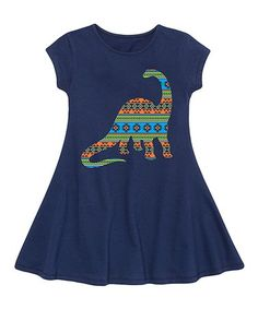 Another great find on #zulily! Navy Geometric Dinosaur Fit & Flare Dress - Toddler & Girls #zulilyfinds