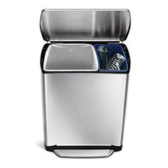 Simplehuman Wide-Step Rectangular Step Trash Can Recycler, Stainless Steel, 46 L / 12.1 Gal, 2015 Amazon Top Rated In-Home Recycling Bins #Home
