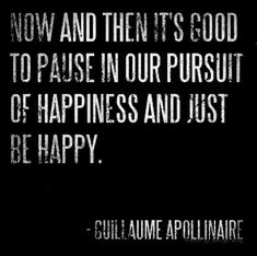 """Now and then it's good to pause in our pursuit of happiness and just be happy."" - Guillame Apollinaire"