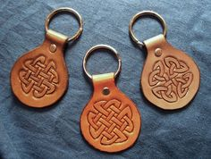 Tooled Leather Key Fob Chain Ring Celtic Knot by HermitsGarden