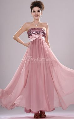 A-line Strapless Long Nude Pink Chiffon Bridesmaid Dresses(BD443)