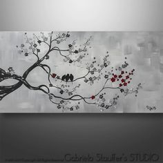 Abstract Painting Modern Original Painting Tree Birds by Catalin