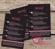 Bachelorette Party Invitations with Matching Itinerary #girlsnightout #lingerieparty #bachelorette