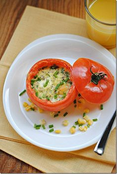 baked eggs in tomato cups!