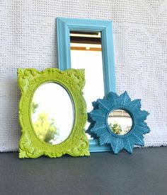 Lime Green Aqua Teal Upcycled Bright Mirror collection.... Painted Modern Mirror Set of 3 Modern Coastal Cottage Decor