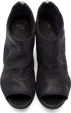 Officine Creative Black Scaled Leather Peep-Toe Boots