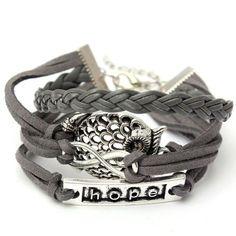 Grey Infinity Owl Hope Friendship Braided Leather Bracelet