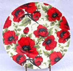 Fine English Bone China Desert or Salad Plate - Red Poppy Chintz by ChinaFind. $19.95. Fine English Bone China. Made In England by Empire Ware. Gift Wrapping Available at Checkout. Dishwasher and Microwave Safe. Brilliant Red Poppy Chintz. This lovely plate just feels right in your hand, the quality can be felt just as easily as it can be seen. It features an eye-popping red poppy chintz design beautifully rendered on fine English Bone China! Made by Empire Ware, Stoke-on-Tr...