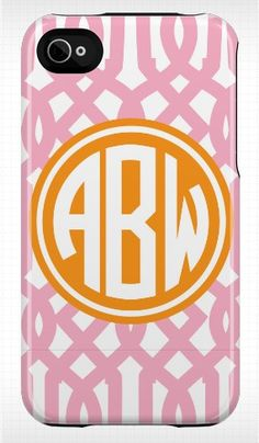 I love these monogrammed iPhone cases - also pink & orange!!