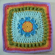 Popcorn Parade Crochet Square ❤️LCS-MRS❤️ with picture instructions, excellent!