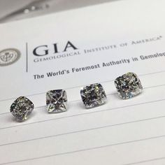 We picked out these four cushion cut diamonds ranging from 1.35 to 1.50 carats (left to right). Which should they pick? #shapirodiamonds #cushioncut #GIA #gemologicinstitute #diamonds #jeweler
