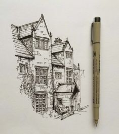 art drawing pen sketch illustration architecture house is part of pencil-drawings - Landscape Sketch, Landscape Drawings, Landscape Design, Architecture Drawing Art, House Architecture, Classical Architecture, Pencil Sketches Architecture, Fashion Architecture, Baroque Architecture